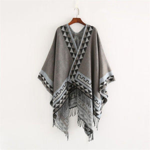 SG Fashion Poncho Geometric Print Shawl Comfortable Warm Scarf