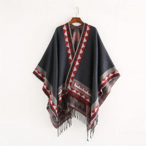SG Fashion Scarf Geometric Print Shawl Comfortable Warm Poncho