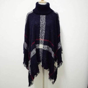 SG Fashion Scarf Winter Warm Wool Plaid Knitted Poncho