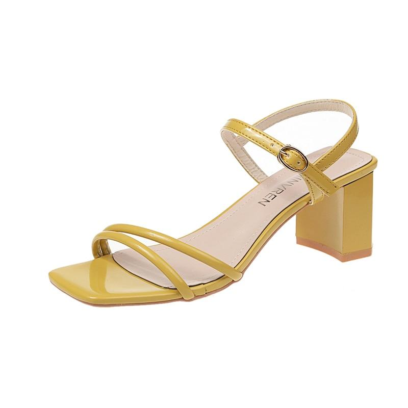 SG High Heel Sandals Rope Ankle Strap Square Heel Slippers Classics Shoes