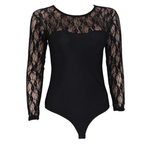 SG Lace Longsleeve Bodysuit Plus Size Rompers Playsuit