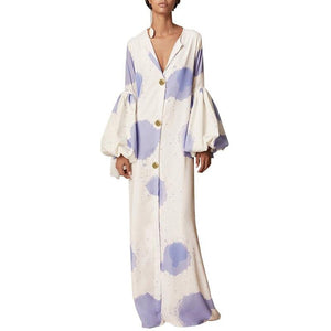 SG Party Dress Bohemian V Neck Long Lantern Sleeve Plus Size Women Maxi Dresses