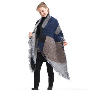 SG Pashmina Scarf Winter Plaid Shawl Reversible Cape Warm Poncho