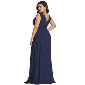 SG Plus Size Long Elegant A-Line Prom Dress Chiffon Sleeveless Party Dress