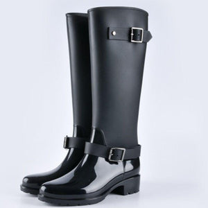 SG Punk Style Heel Riding Boots Zipper Shoes Knight Tall Rain Boots