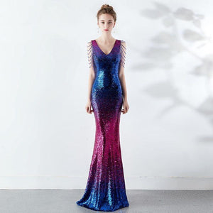 SG V-Neck Sequin Prom Dress Floor Length Mermaid Gown