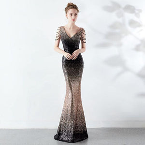SG V-Neck Sequin Prom Dress Zipper Back Dress Floor Length Mermaid Gown