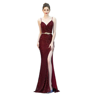 SG V-neck Split Long Sequin Prom Dress Strap Evening Party Dress