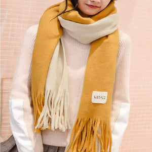 SG Winter Striped Shawls Long Cashmere Scarves Knitted Women Stoles