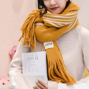 SG Women Cashmere Stoles Knitted  Scarves Winter Striped Shawls