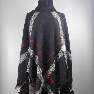 SG Women's Scarf Winter Warm Wool Plaid Knitted Poncho