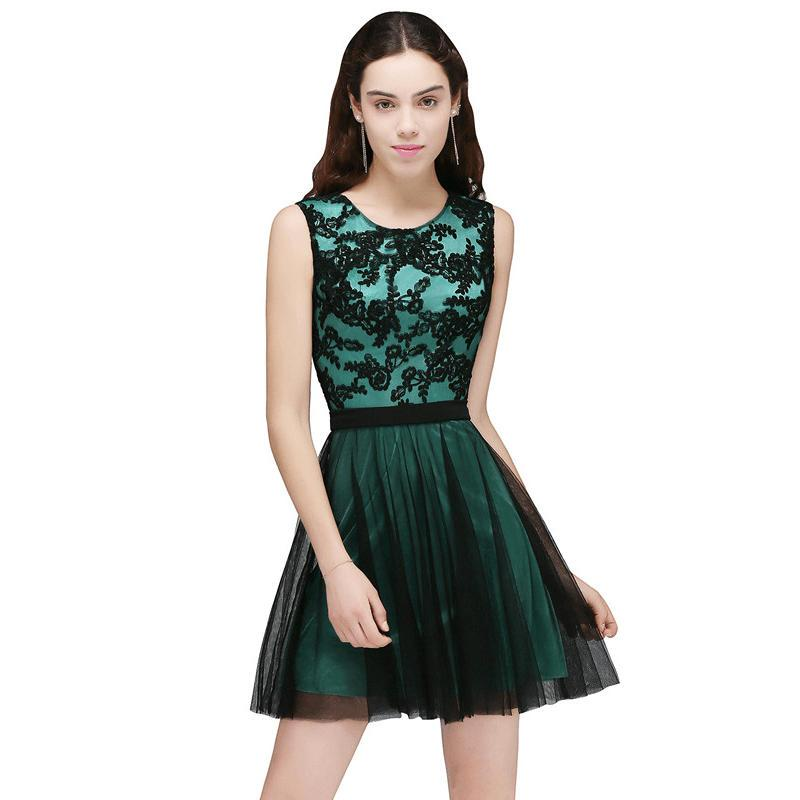 Short Prom Dresses Lace Appliques Evening Party Dresses