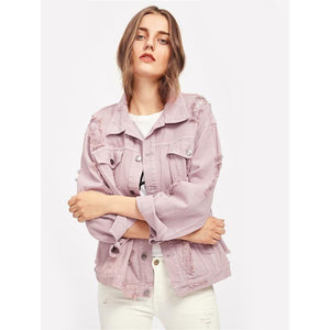 Single Breasted Women Pink Lapel Coat Fall Jacket-Jackets-Sour Grapes Online-Pink-S-
