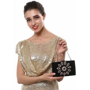 Single Side Sun Diamond Crystal Rhinestone Women Clutch Bag-Clutch-Sour Grapes Online-Black-