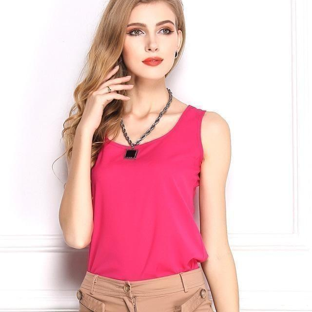 Sleeveless Chiffon Bottoming Shirt Female T-shirt Women Tank Top Tee-Top-Sour Grapes Online-Rose Red-S-