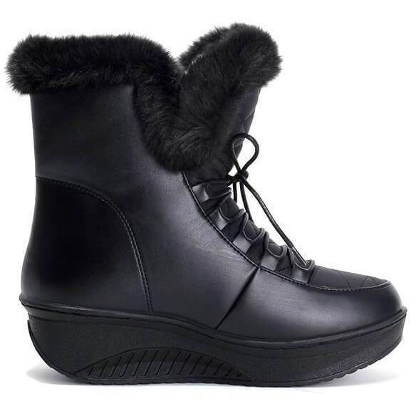 Slip-On Soft Cute Women Black White Snow Boots-Shoes-Sour Grapes Online-Black-USA 4-