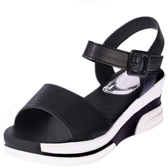 Soft Leather Open Toe Fish Head Sandals Platform Black Shoes-Sandals-Sour Grapes Online-5-Black-