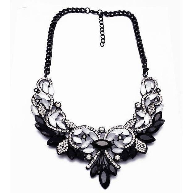 Spring Colorful Crystal Necklace-Necklaces-Sour Grapes Online-Black White-