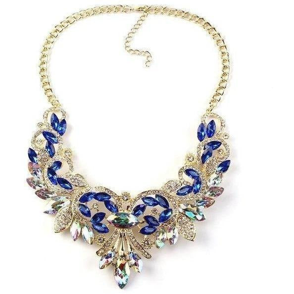 Spring Colorful Crystal Necklace-Necklaces-Sour Grapes Online-blue-