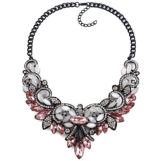Spring Colorful Crystal Necklace-Necklaces-Sour Grapes Online-Pink-