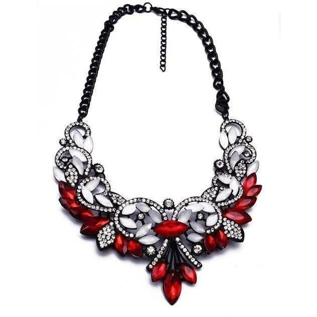 Spring Colorful Crystal Necklace-Necklaces-Sour Grapes Online-Red White-