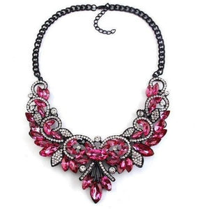 Spring Colorful Crystal Necklace-Necklaces-Sour Grapes Online-Rose Red-