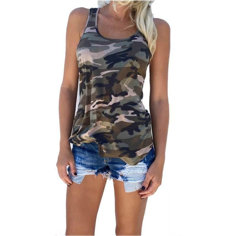 Streetwear Casual Vest Camouflage Summer Tank Tops For Women-Top-Sour Grapes Online-L-Green-