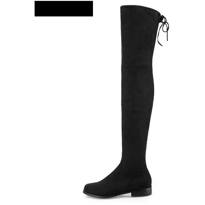 Stretch Suede Over the Knee Boots Thigh High Flat Plus Size Shoes-Shoes-Sour Grapes Online-Black-5-
