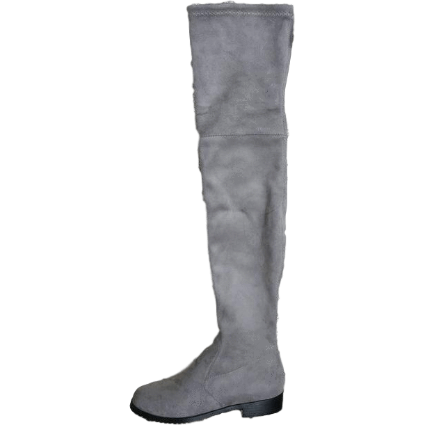 Stretch Suede Over the Knee Boots Thigh High Flat Plus Size Shoes-Shoes-Sour Grapes Online-Light Grey-5-