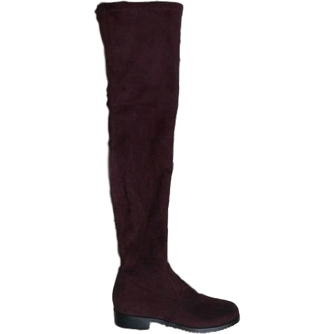 Stretch Suede Over the Knee Boots Thigh High Flat Plus Size Shoes-Shoes-Sour Grapes Online-Wine Red-5-