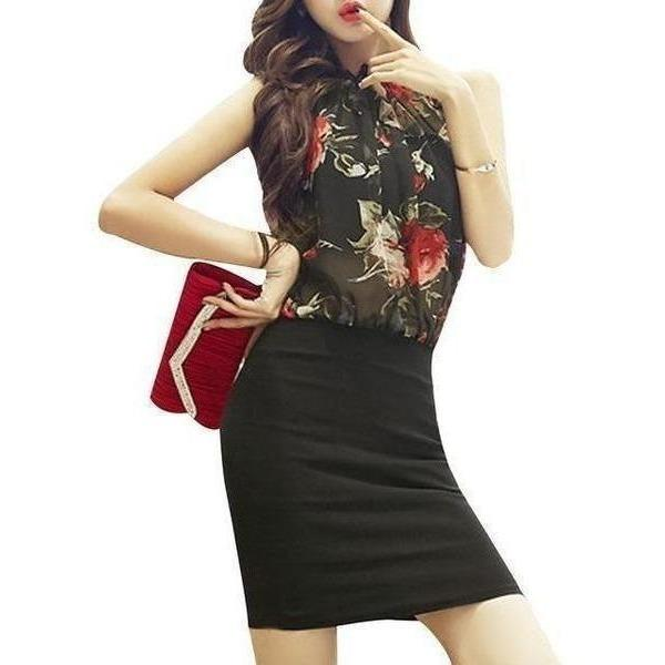 Summer Rose Floral Chiffon Dress Women Dresses Vintage Bodycon Sexy Sleeveless Halter Red Black Party Dress-Dress-Sour Grapes Online-Black Sleeveless-S-