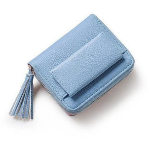 Tassel Pendant Mini Wallet with Zipper Short Money Coin Purse-Wallet-Sour Grapes Online-Blue-