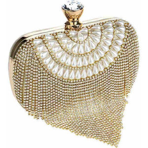 Tassel Rhinestones Diamond Beading Lady Clutch Bag-Clutch-Sour Grapes Online-Gold-