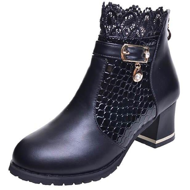 Thick Heel Women Platform Zipper Boots Buckle Riding Ankle Boots-Shoes-Sour Grapes Online-Black-5-