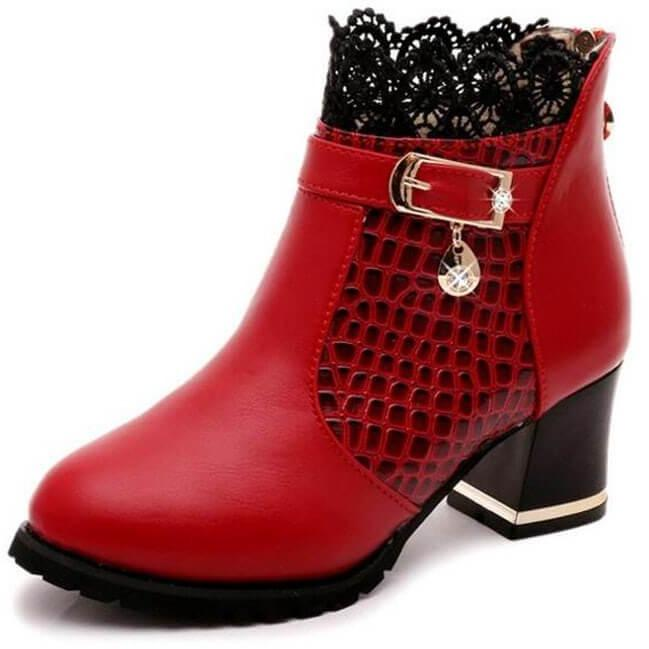Thick Heel Women Platform Zipper Boots Buckle Riding Ankle Boots-Shoes-Sour Grapes Online-Wine Red-5-