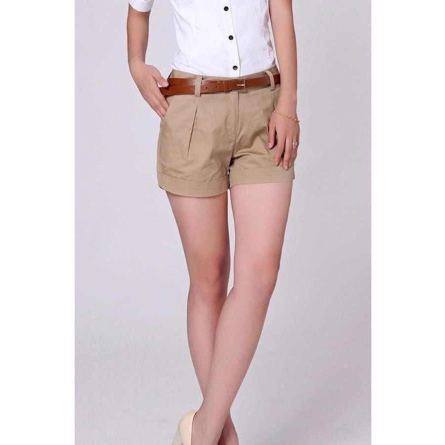 TLZC Korea Summer Woman Cotton Shorts Size S-3XL New Fashion Design Lady Casual Short Trousers Solid Color Khaki / White-Shorts-Sour Grapes Online-Khaki-S-