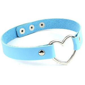 Trendy Leather Buckle Belt Female Charm Heart Choker-Jewellery-Sour Grapes Online-Blue-