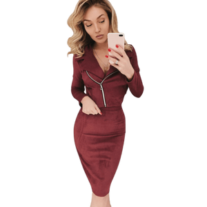 Two Piece Skirt & Jacket Women Suit Zipper Suede Set