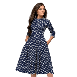 Vintage A-line Slim Three Quarter Sleeve Party Dress-Dress-Sour Grapes Online-Navy-S-