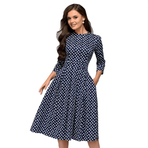 Vintage A-line Slim Three Quarter Sleeve Party Dress-Dress-Sour Grapes Online-Navy-L-