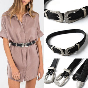 Vintage Metal Boho Leather Double Buckle High Waist Belt-Belt-Sour Grapes Online-Silver-