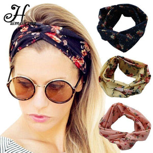 Winter Turban Headband Floral Prints Bandanas Elastic Hair Bands for Girls and Women-Accessories-Sour Grapes Online-Floral 1-