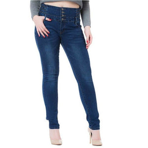 Woman High Waist Stretch Jeans Denim Pencil Pants-Pants-Sour Grapes Online-Dark Blue-25-