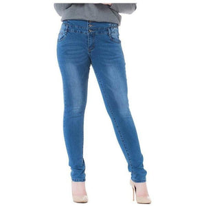 Woman High Waist Stretch Jeans Denim Pencil Pants-Pants-Sour Grapes Online-Light Blue-25-
