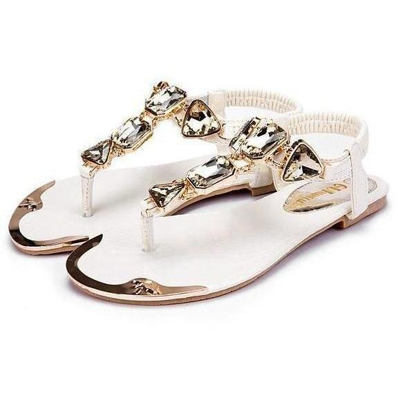 Woman Hot Fashion Rhinestone Sandals Ladies Shoes-Sandals-Sour Grapes Online-White-5-