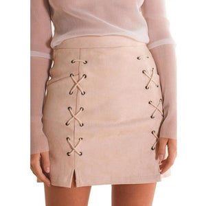 Women A-line High Waist Suede Leather Skirts-Skirt-Sour Grapes Online-AntiqueWhite-S-