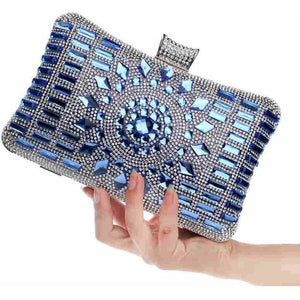 Women Acrylic Diamonds Clutch Shoulder Bag-Clutch-Sour Grapes Online-Blue-