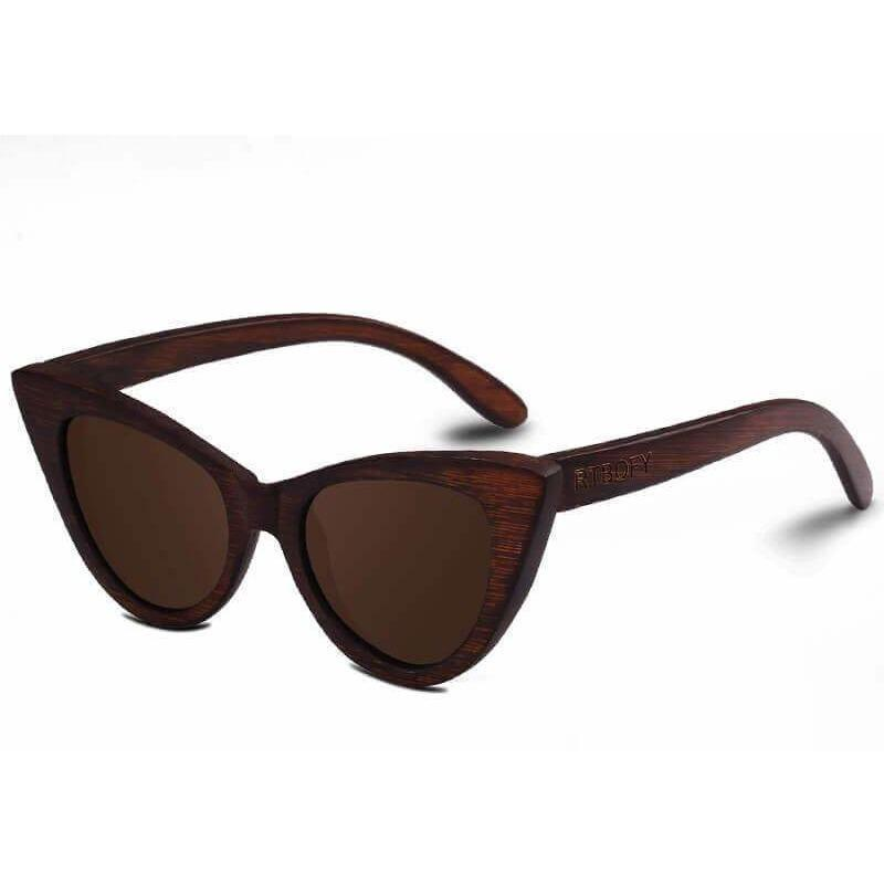 Women Bamboo Frame Polarized Wooden Cat Eye Sunglasses-Shades-Sour Grapes Online-SaddleBrown-