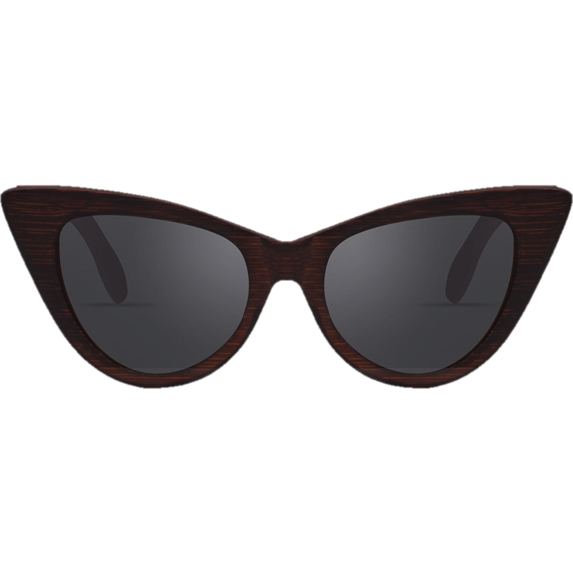 Women Bamboo Frame Polarized Wooden Cat Eye Sunglasses-Shades-Sour Grapes Online-Black-