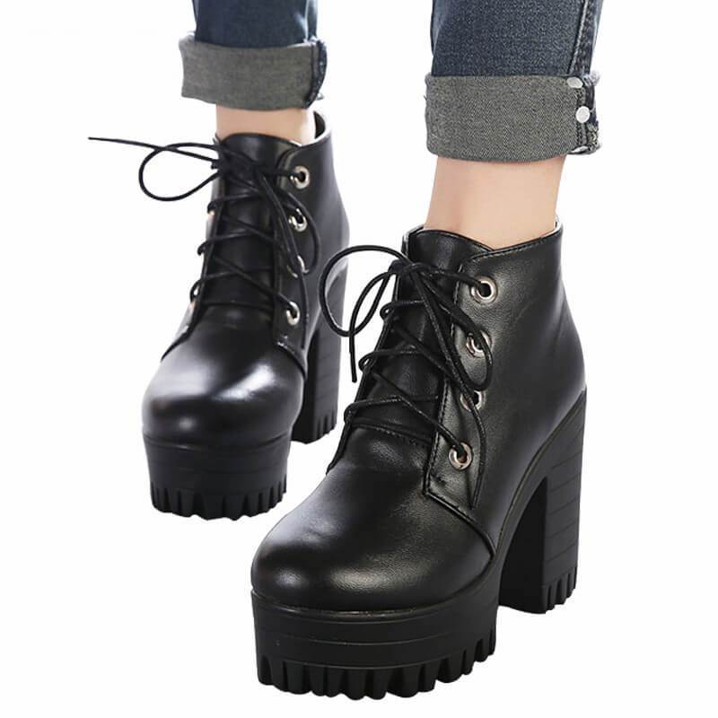 Women Black High Heels Shoes Lace Platform Ankle Boots-Shoes-Sour Grapes Online-Black-4.5-
